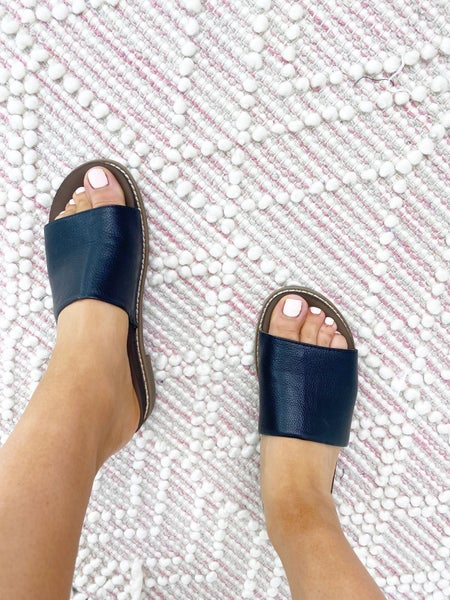 SIZE 6.5 & 7 ONLY - Yellow Box Kalo -  Black Slide Sandals