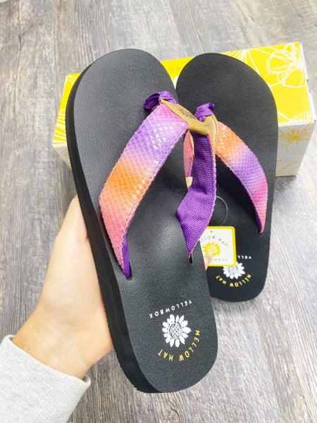 Yellow Box Nadeli -  Purple to Coral Ombre Flip Flop