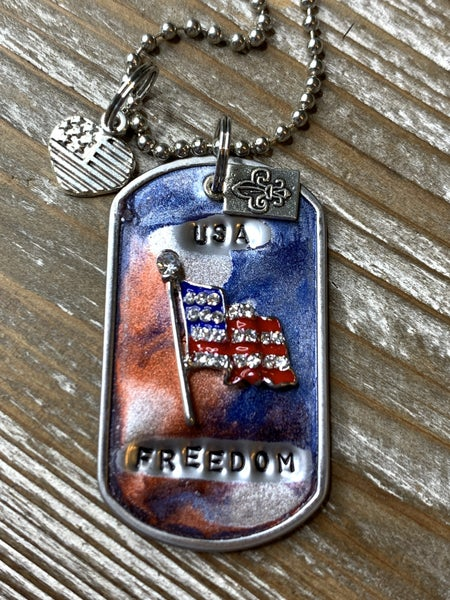 Kate Mesta USA Freedom Hand Painted Dog Tags