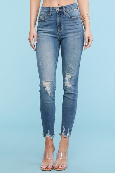 LAST ONE - Judy Blue Frayed Hem Long Skinny Jeans
