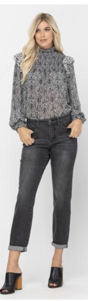 Gray Handsand Cuffed Boyfriend Jeans