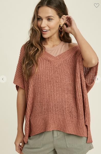 Short Sleeve V-Neck Sweater in Ginger