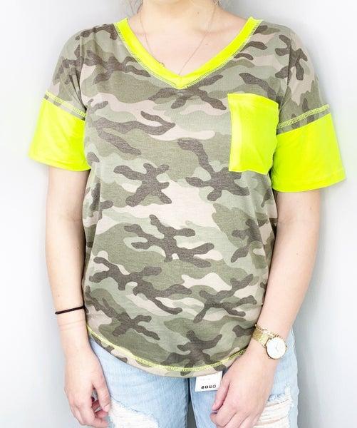 Green Camo V-Neck Top