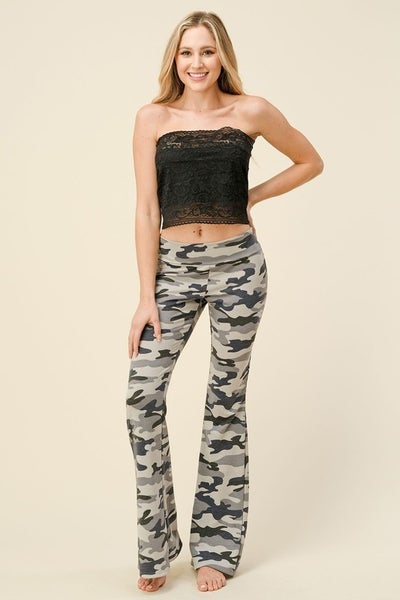 SM & MED ONLY-Camo Printed Flare Pants in Gray and Navy