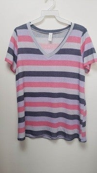 Pink and Purple Striped Top