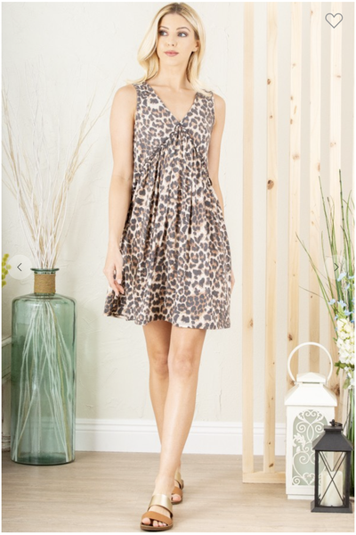 SM ONLY-TAUPE ANIMAL LEOPARD PRINT DRESS WITH RUFFLED DETAIL