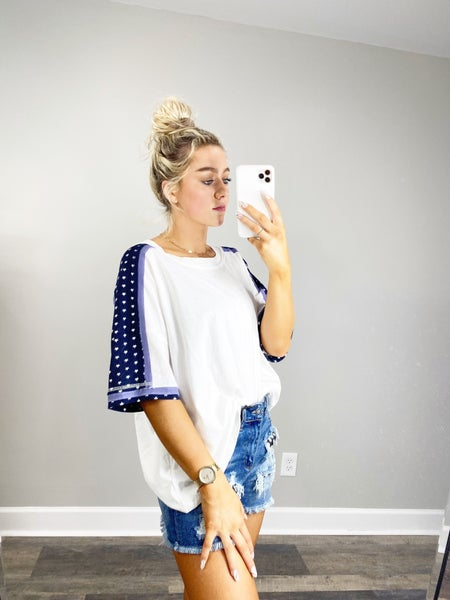 White Oversized Top with Blue Star Detail on Sleeve