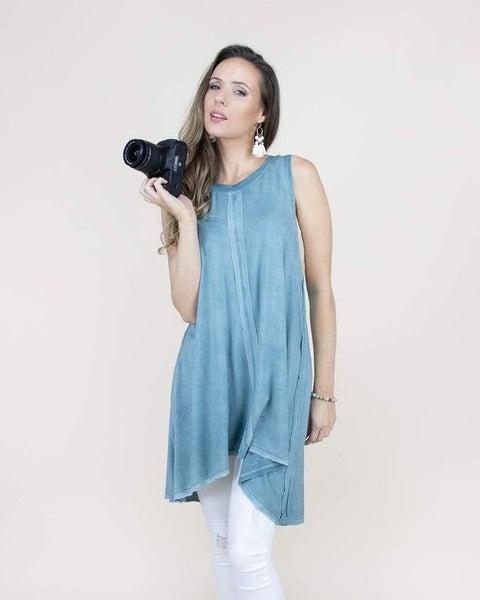 Teal Center Hemmed Sleeveless Tunic/Dress