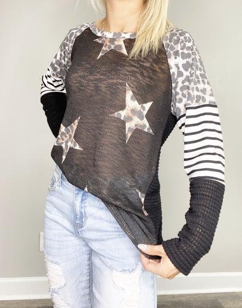 Black Jersey Knit Star Leopard Print Top