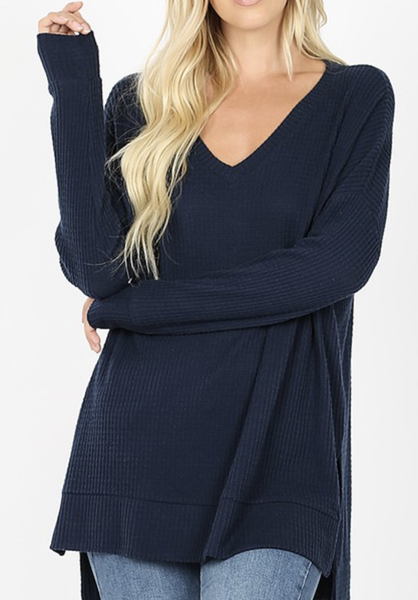 Thermal Waffle V-Neck Sweater ***Multiple Colors