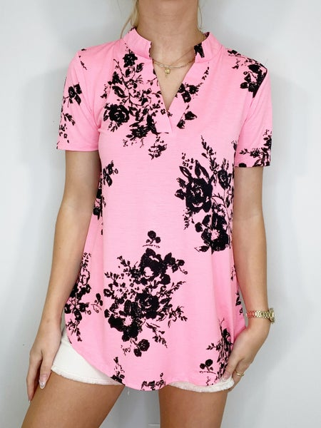 Neon Pink and Black Short Sleeve Gabby Top