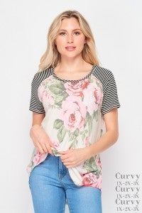 SMALL ONLY - Floral and Striped Raglan Short Sleeve Top