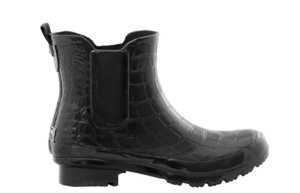 Chelsea Black Croc Rain boots