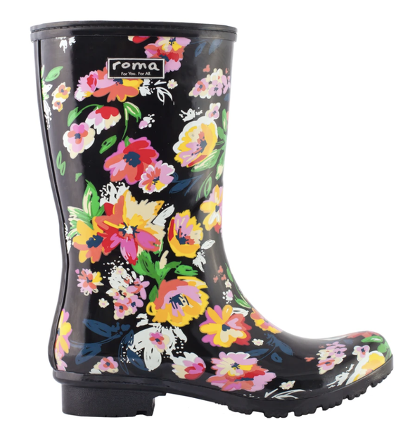 Emma Mid Black Floral Rain Boots