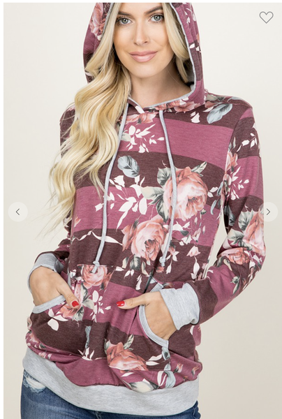 SMALL & LARGE ONLY-Floral Print Burgundy Hoodie with Kangaroo Pocket