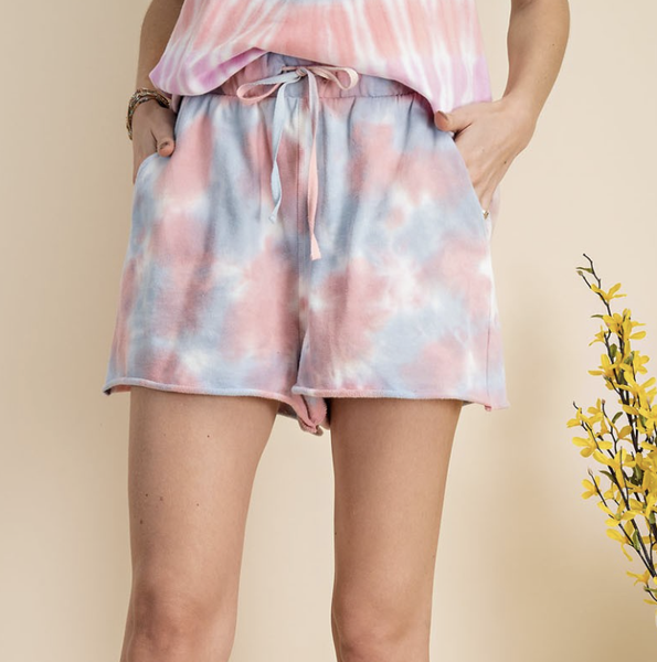 Summer Tie Dye Shorts in Blue Rose