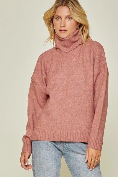Long Sleeve Cowl Neck Sweater in Dark Mauve