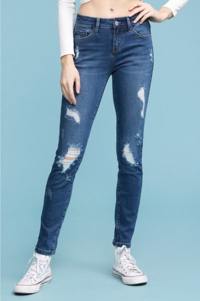 Judy Blue Front and Back Destroyed Medium Wash Skinny Jeans