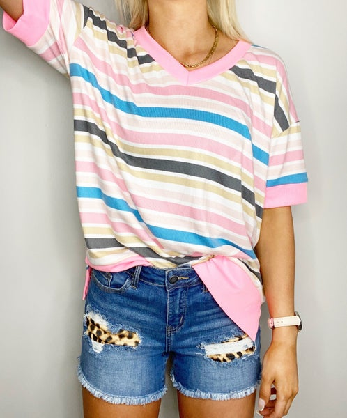 Charcoal and Pink Veekender Top