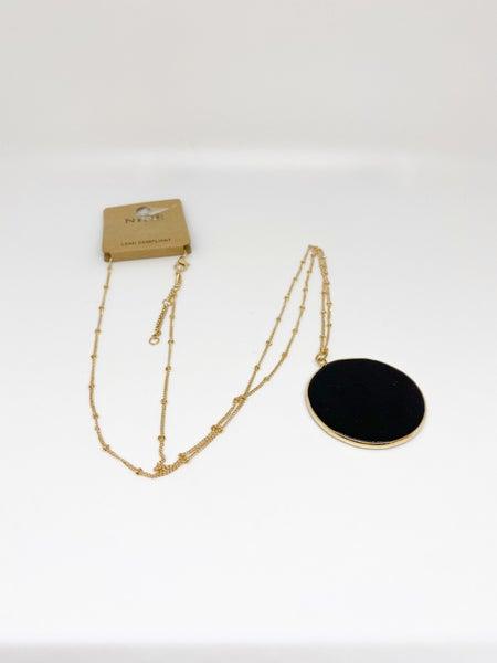 Nine Black Circle Pendant Necklace