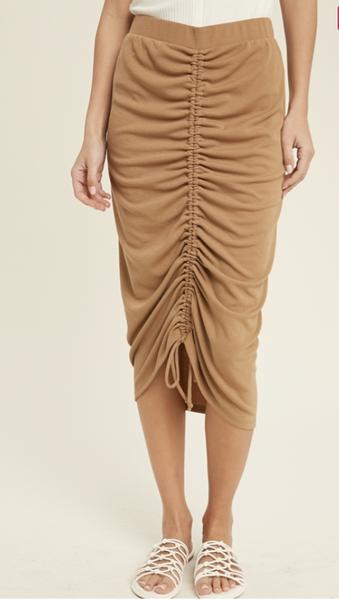 Ruching Skirt in tan