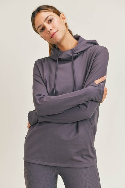 MONO B Boxy Hoodie Pullover in Arcane