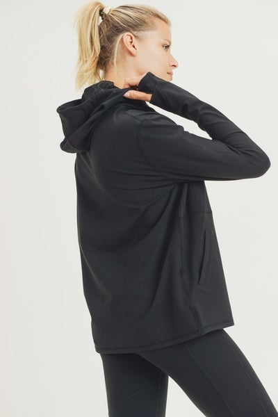 Mono B Boxy Hoodie Pullover in Black