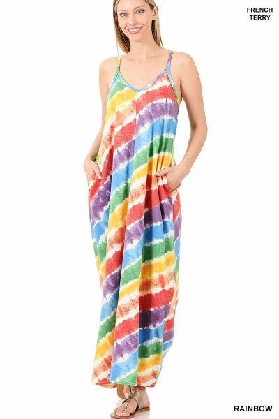 French Terry Rainbow Maxi V-Neck Dress