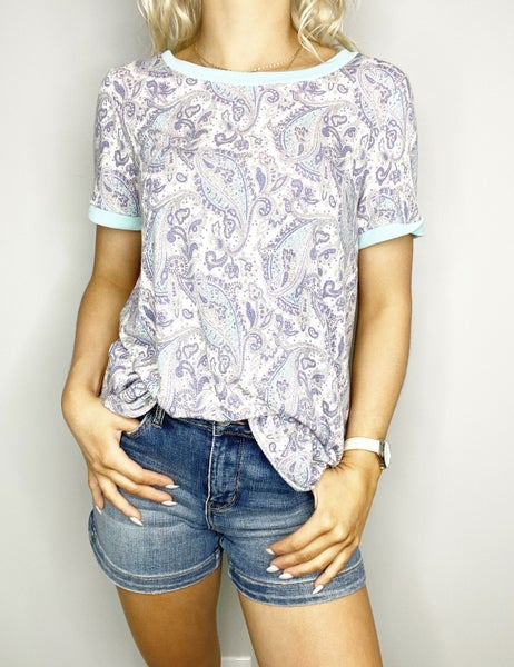 SMALL ONLY Paisley Top with Cuff and Crew Neck Trim