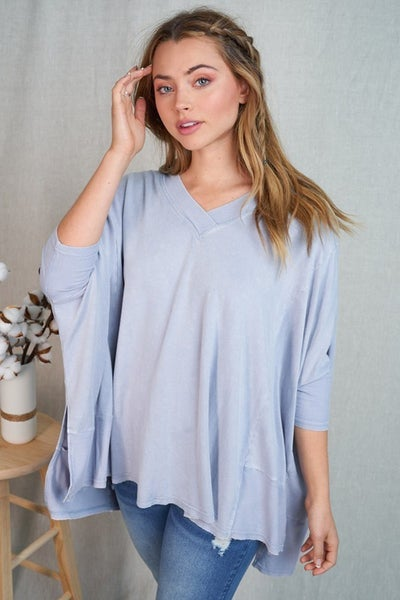 Blue Long Sleeve Oversized Solid Knit Top