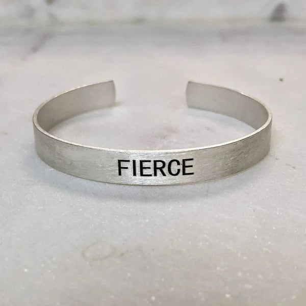 Choose Your Word - Brushed Copper Cuff {SILVER - FIERCE}