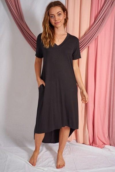 Black Short Sleeve Solid Knit Dress