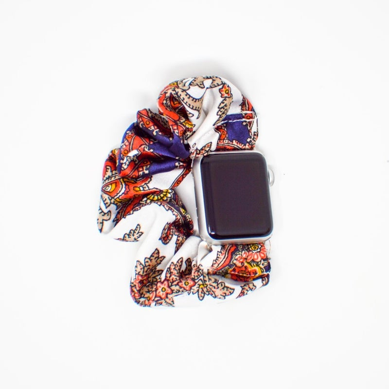 Navy Paisley Scrunchie Apple Watch Band - 42/44mm