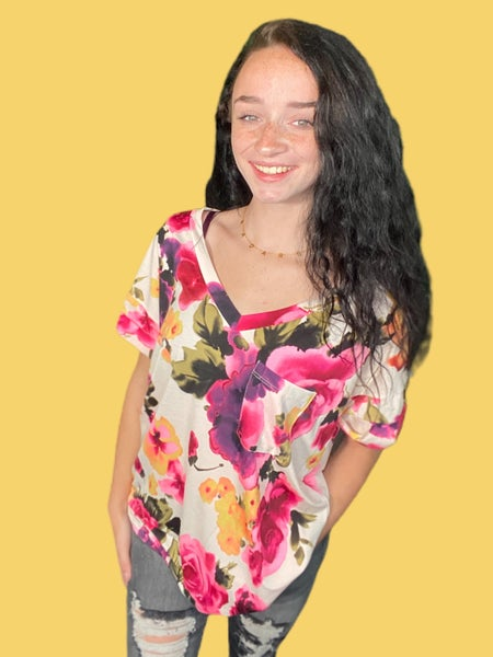 Sew In Love Ivory & Pink Floral V-Neck Top with Cuffed Sleeves