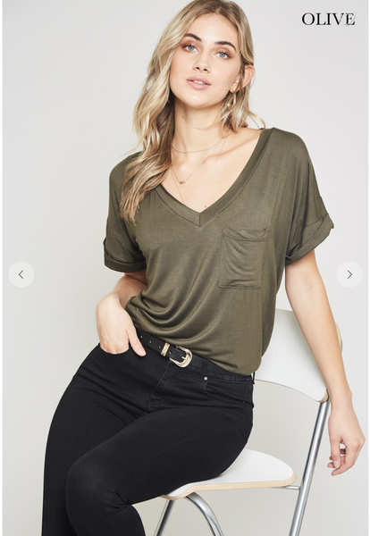 SMALL & MED ONLY - Olive Short Sleeve V-neck with Cuffed Sleeves