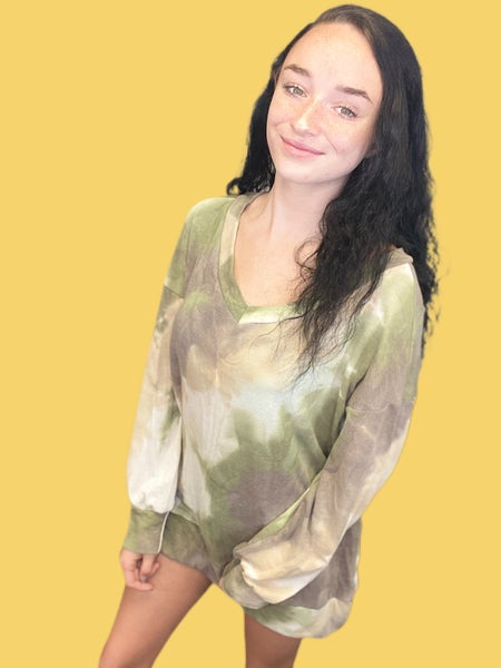 Honeyme French Terry V-Neck in Olive