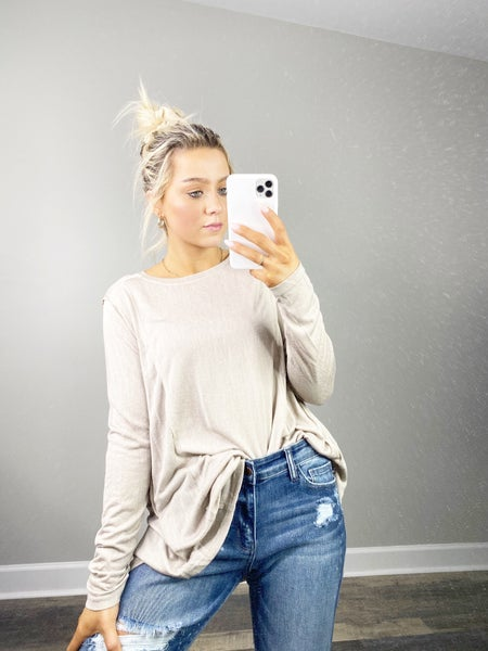 Khaki Sheer Knit Long Sleeve Top