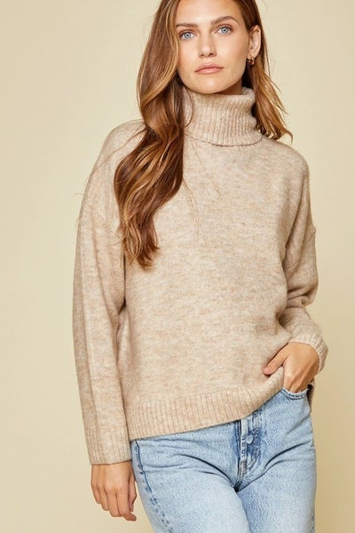 Long Sleeve Cowl Neck Sweater in Oatmeal