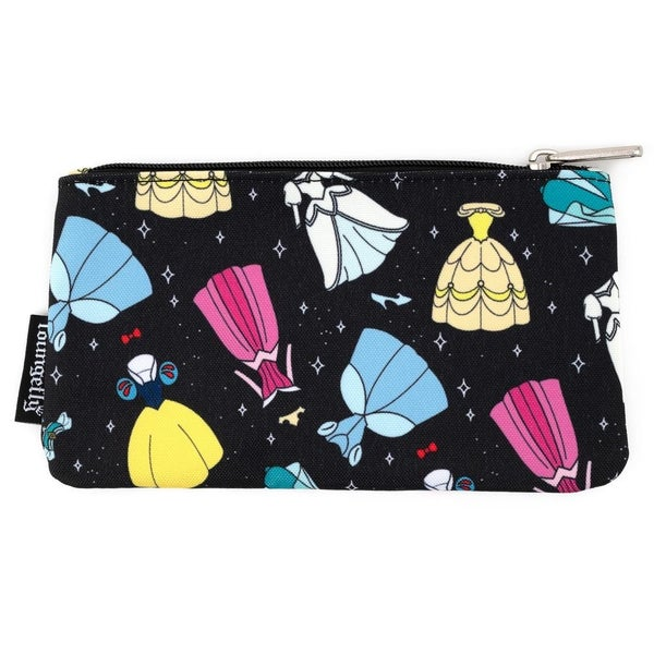 LOUNGEFLY X DISNEY PRINCESS AOP DRESSES NYLON POUCH
