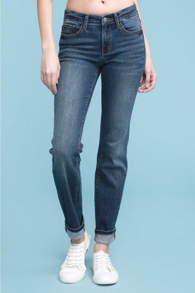 Judy Blue Dark Wash Cuffed Straight Jeans