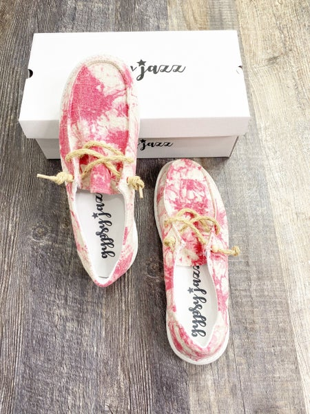 SIZE 6 & 9 ONLY Gypsy Jazz Red Swirl Sneakers