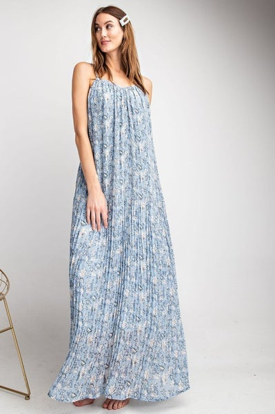Follow Me Floral Print Maxi Dress in Spa Blue