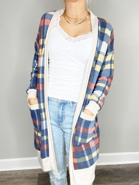 Small ONLY - Plaid Cardigan with Contrast