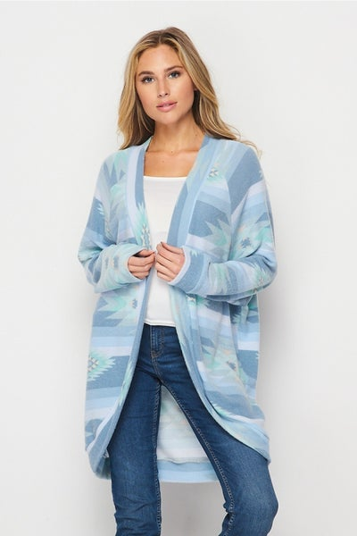 HoneyMe Southwest Ice Blue Cardigan