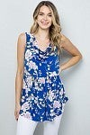 BLUE FLORAL COWL NECK SLEEVELESS TOP