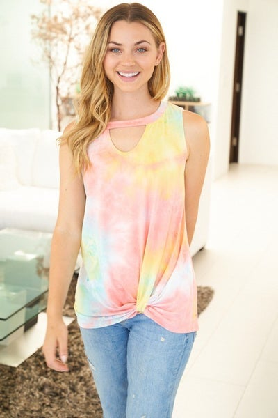 White Birch Tie Dye Knit Top with Cut Out Front in Coral