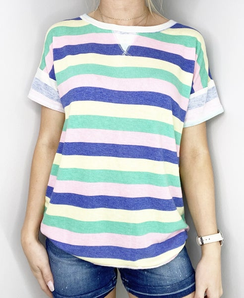 Green and Pink Striped Top