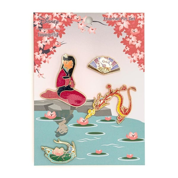 LOUNGEFLY X DISNEY MULAN 4 PC ENAMEL PIN SET