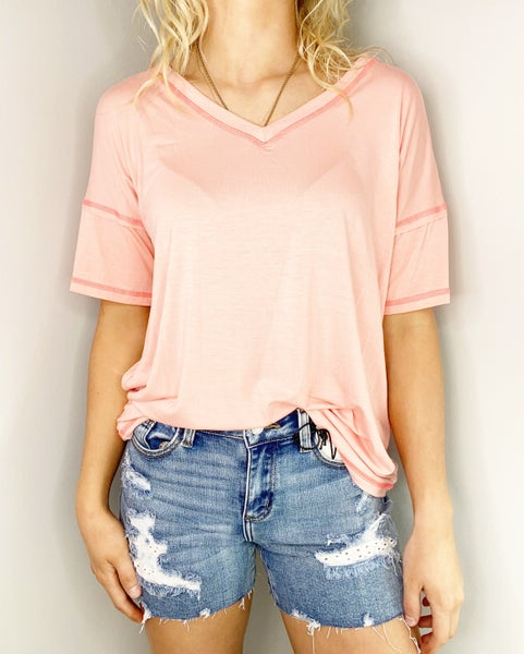 SMALL ONLY - Peach V-Neck Top
