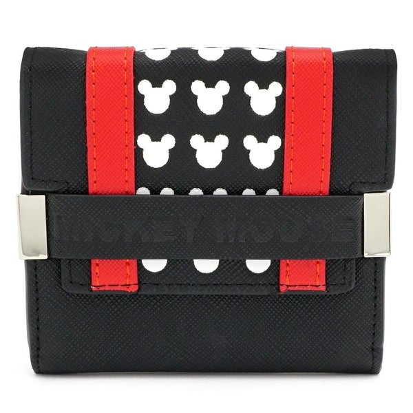 LOUNGEFLY X MICKEY BLK RED TRIFOLD WALLET
